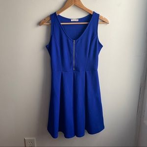 Soprano blue fit and flare zipper front mini dress